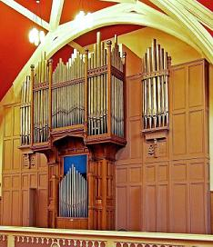 The organ pipes in Alyth Parish Church